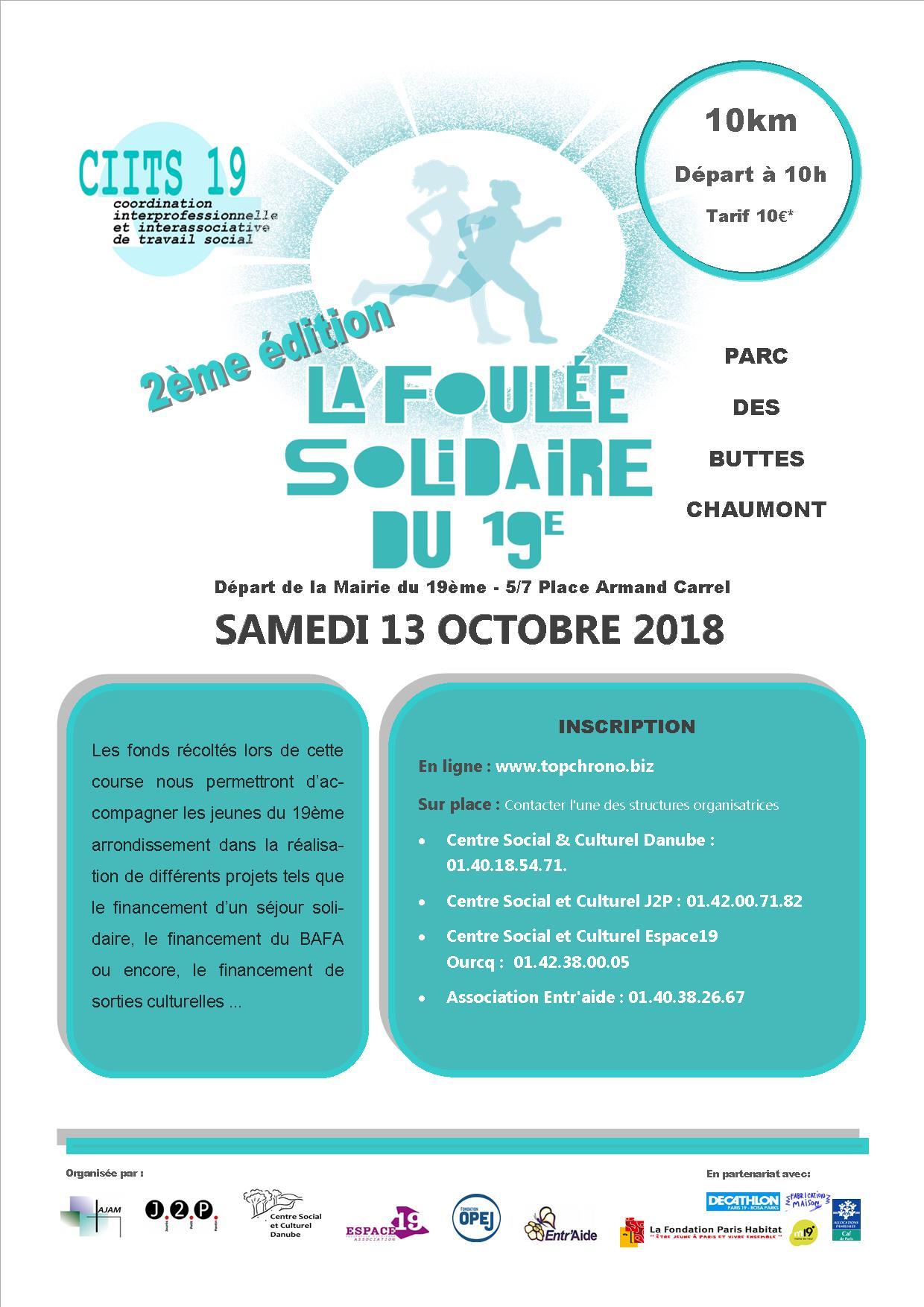 2018 - Affiche Foulée Solidaire du 19e